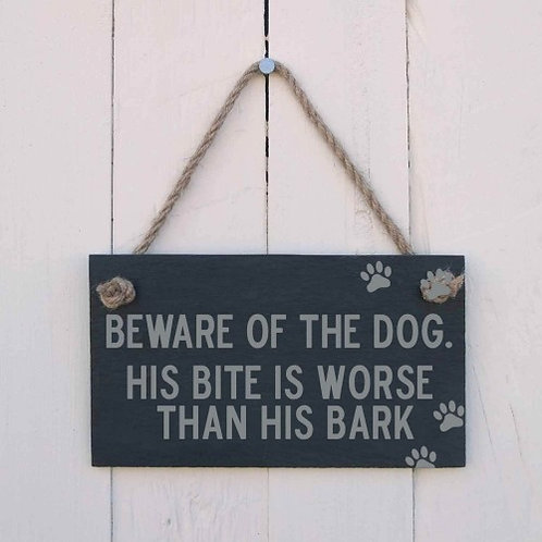 Slate Hanging Sign - Beware of the Dog
