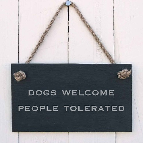 Slate Hanging Sign - Dogs Welcome