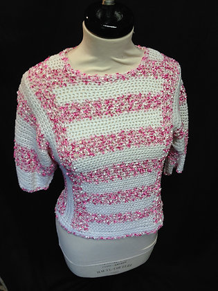 Pink and White Crochet Short Sleeved Jumper