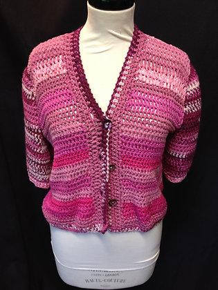 Multi/Pink Crochet Cardigan