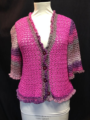 Multi Pink Cotton and Lurex 3/4 Cardigan