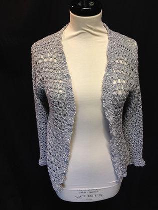 Grey Crochet Long Cardigan