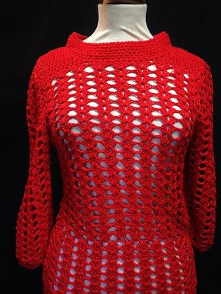 Scarlet Wool Crochet Dress