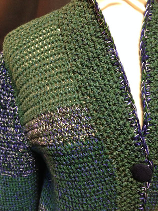 Green, Navy and Grey Multi Wool Crochet Cardigan
