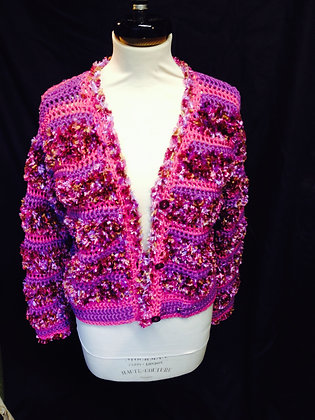 Pink and Mauve Multi Crochet Cardigan