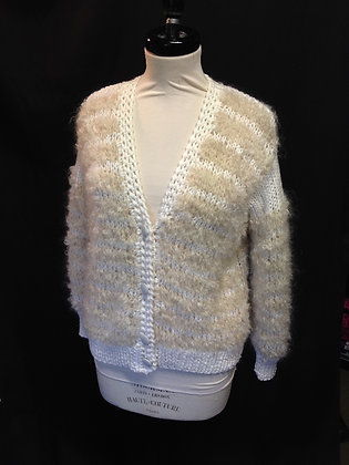 Ivory Mohair/Wool Knitted Cardigan