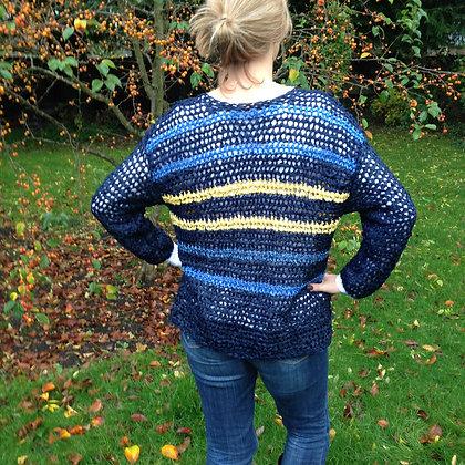 Multi Blue and Yellow Ribbon Crochet Cardigan