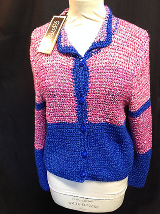 Pink and Blue Crochet Cardigan
