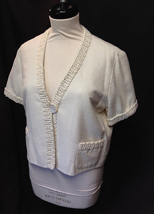 Raw Silk and Crochet Cream Jacket