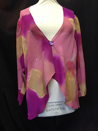 Handpainted Silk Pink and Gold Waterfall Jacket