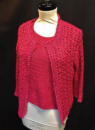 Pink Shimmer Crochet Twin set