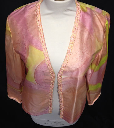100% Silk Dupion Hand Painted Edge to Edge Jacket