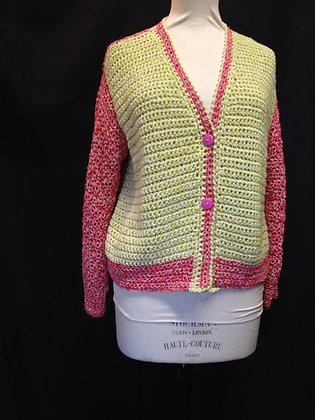 Multi PInk and Lemon Crochet Cardigan