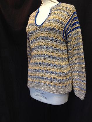 V neck Ochre and Blue Crochet Slouch Jumper