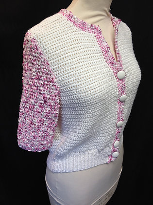 PInk and White Short sleeved Cardigan