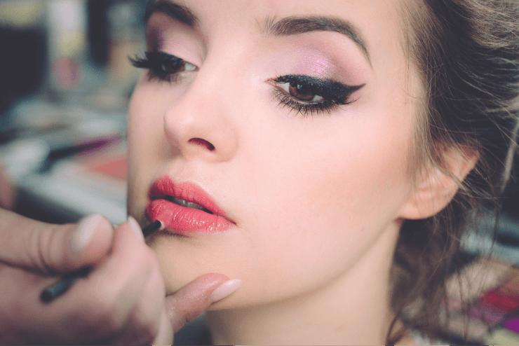 Applying Lipstick on White Girl