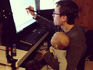 Josh Stifter and his son animating