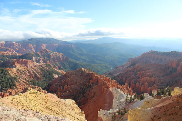 Beautiful mountaintop view of red rocks and pine trees.