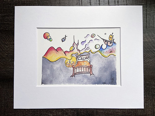 Fred Charles Art Night Thoughts Matted Print
