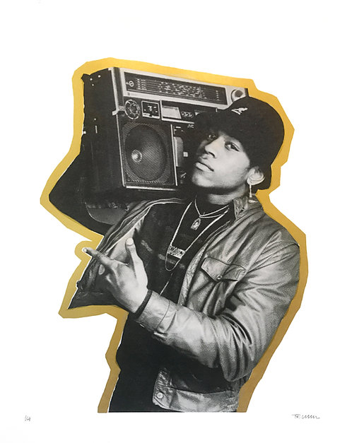 LL COOL J (White with Gold Outline)