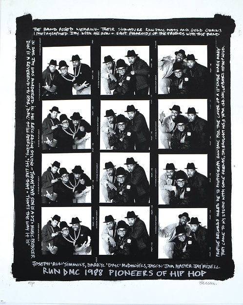 RUN DMC 1988 PIONEERS OF HIP HOP Contact Sheet (Black Border)