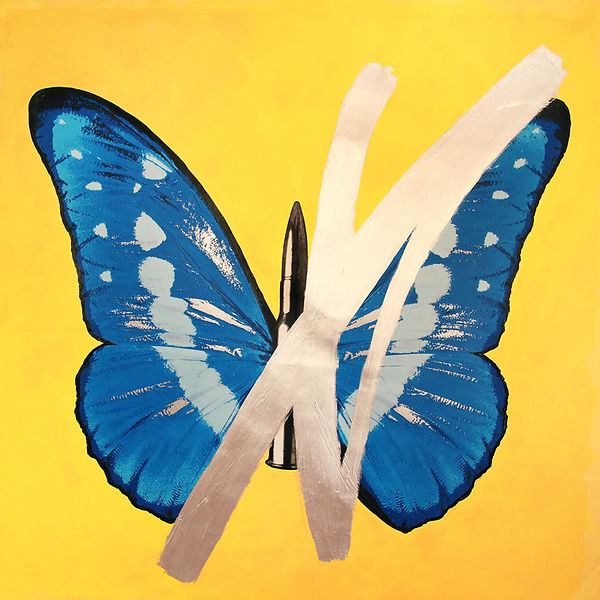 ButterflyOnYellowwithSilverCross.JPG