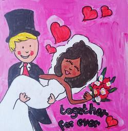 schilderen op bruiloft bruidspaar