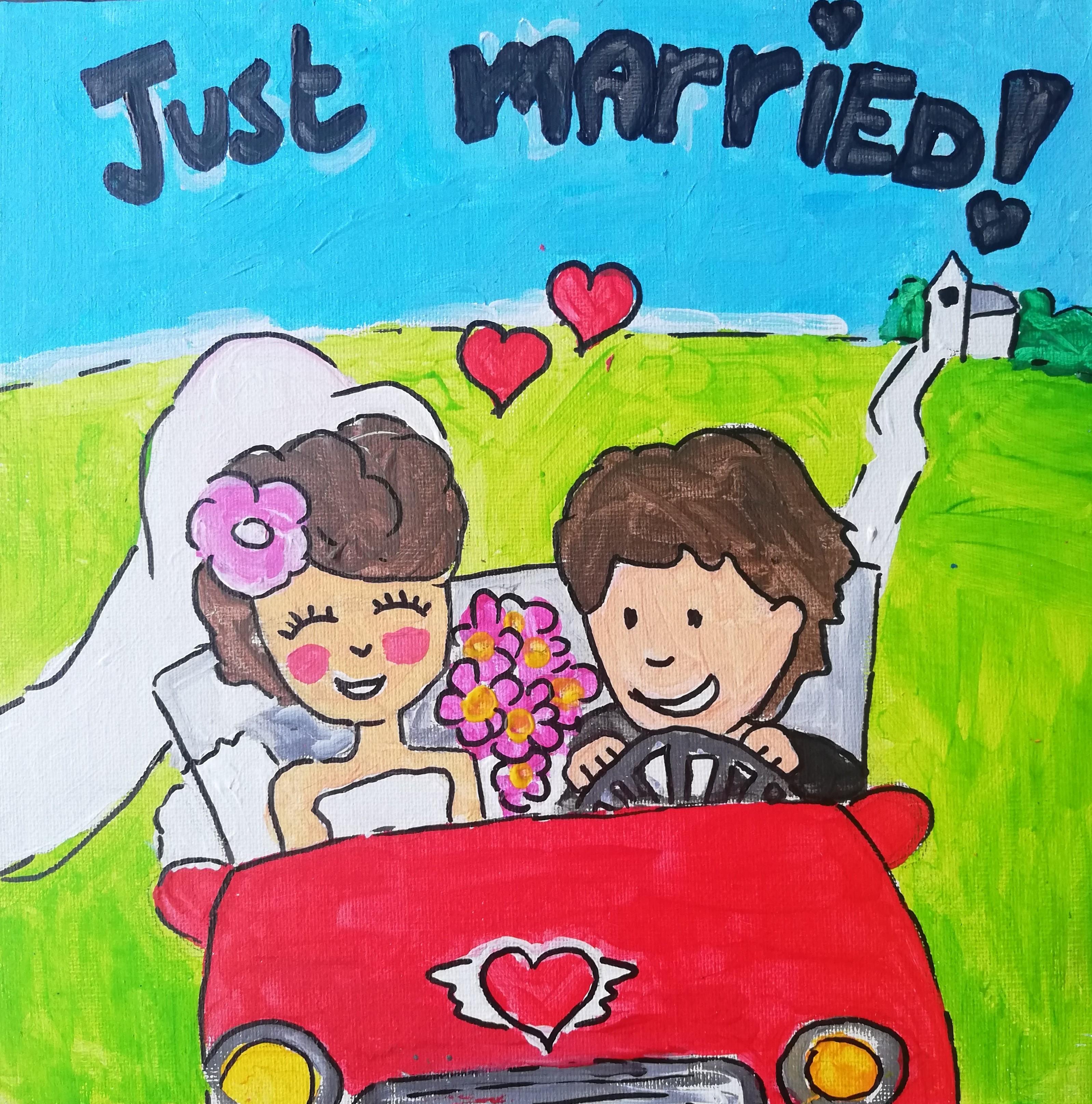 puzzelschilderij bruidspaar
