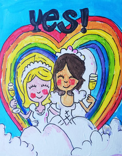 Puzzelschilderij bruidspaar vrouwen