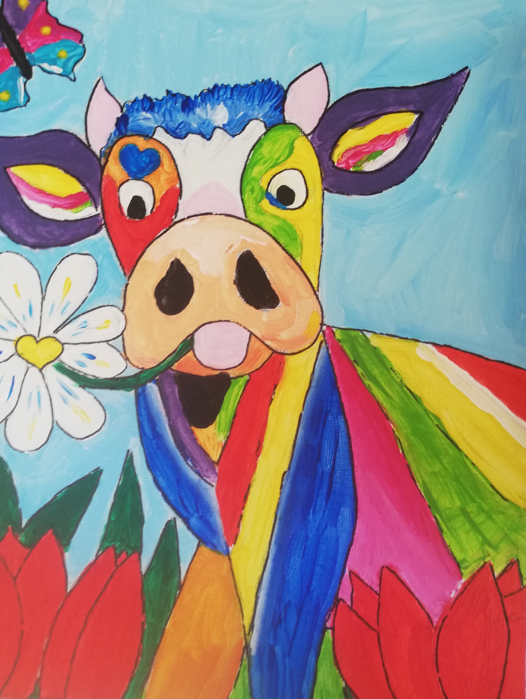 workshop puzzelschilderij vrolijke dieren koe