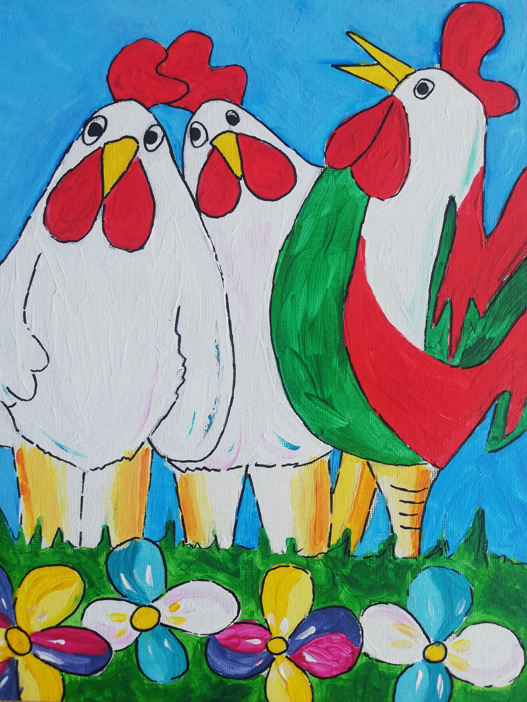 Puzzelschilderij vrolijke dieren kippen