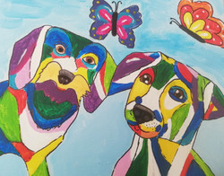 schilderen op bruiloft vrolijke dieren honden