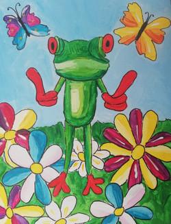puzzelschilderij vrolijke dieren kikker