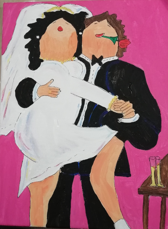 schilderen op bruiloft dikke dames