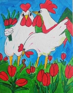 schilderen op bruiloft vrolijke dieren kippen