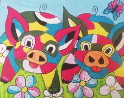workshop puzzelschilderij vrolijke dieren varkens
