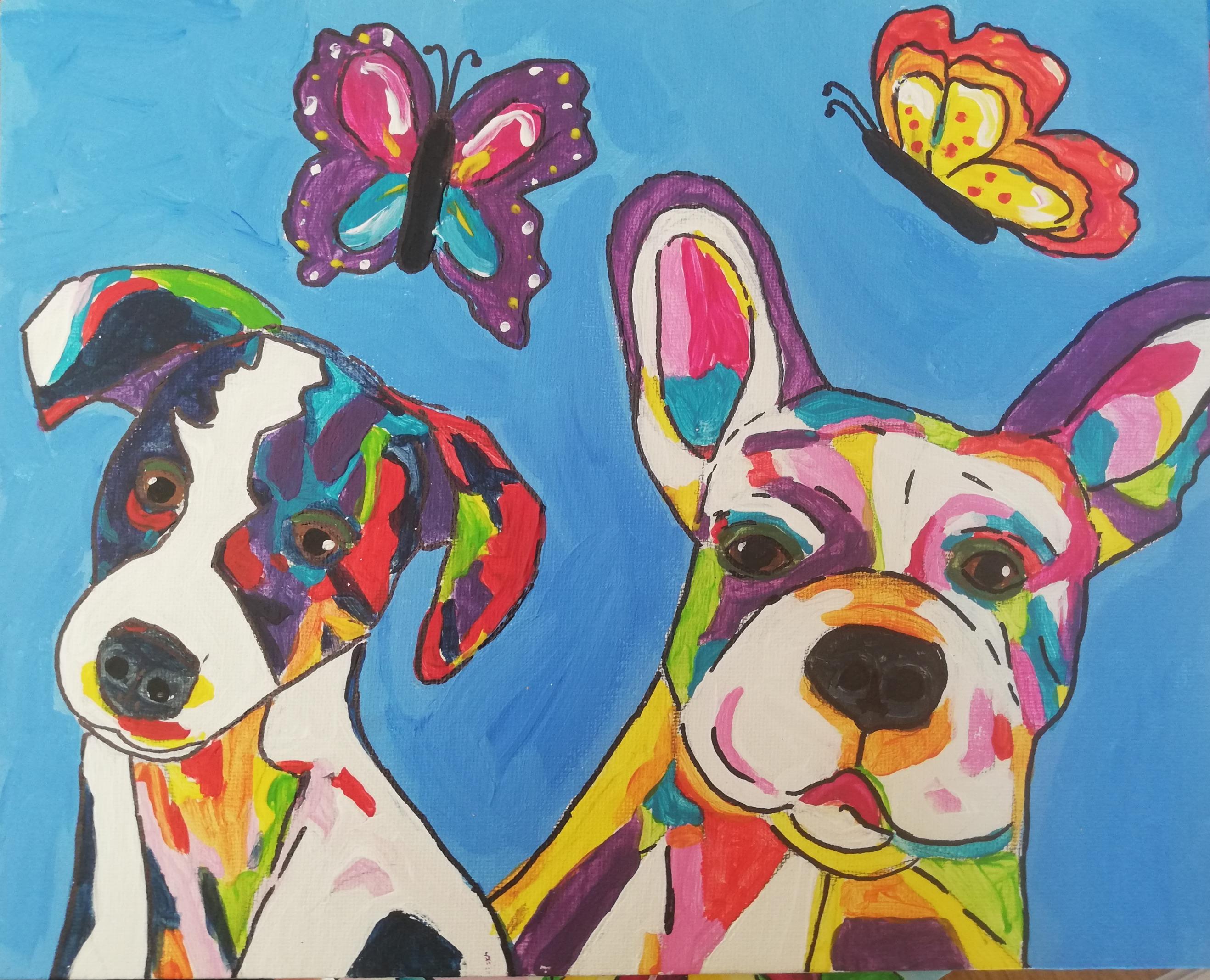 workshop puzzelschilderij vrolijke dieren honden