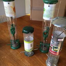 a range of bird feeders