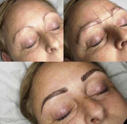 eyebrows before, during and after microblade treatment