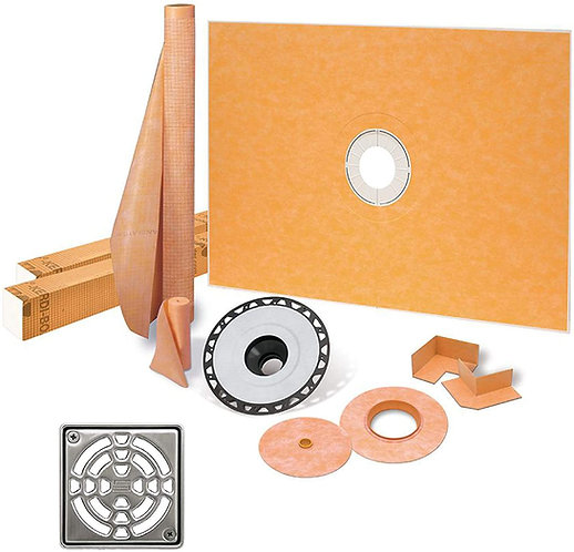 "Schluter Kerdi 38"" X 60"" Center ABS Shower Kit with Stainless Steel Drain"