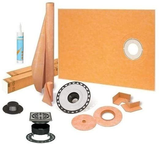 "Schluter Kerdi 38"" x 60"" Offset Kit ABS, Stainless Steel Grate & KERDI FIX"