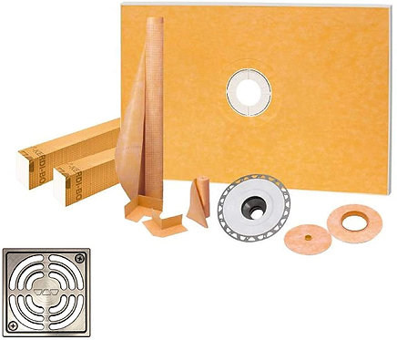 Schluter Kerdi 48-Inch X 72-Inch Shower Kit with Brushed Nickel Anodized Drain