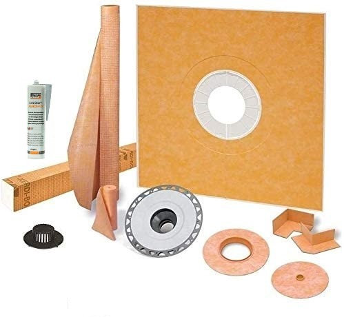 Schluter Kerdi 72 Inch x 72 Inch Shower Kit ABS Flange and Joint Sealant