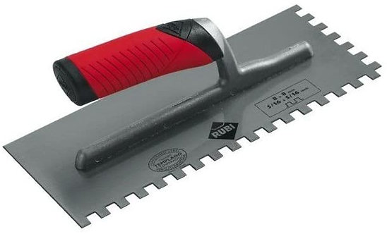 "Jagged Trowel with Open Rubiflex Handle Notches Size: 1/4"" x 1/4"" (6 x 6 mm)"