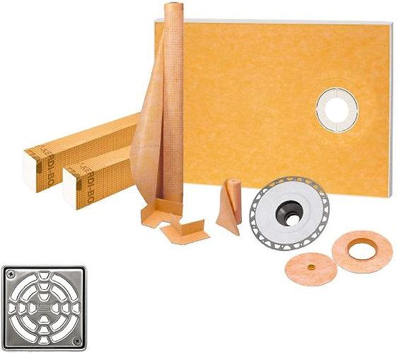 Schluter Kerdi 38-Inch X 60-Inch Off-Center Shower Kit wi. Stainless Steel Drain