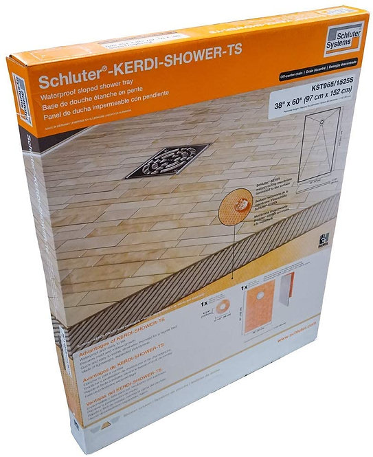 "Schluter Kerdi 38"" x 60"" Shower Tray Off-Center Drain Placement 1-1/2""  Height"