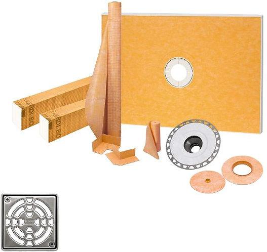 Schluter Kerdi 38-Inch X60-Inch Center Shower Kit with Stainless Steel Drain