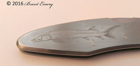 Engraved knife, engraved Sturgeon