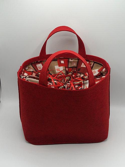 Tasche Filz rot/rot