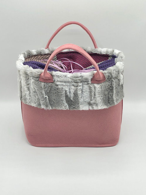Tasche Filz mit Webpelz altrosa/grau
